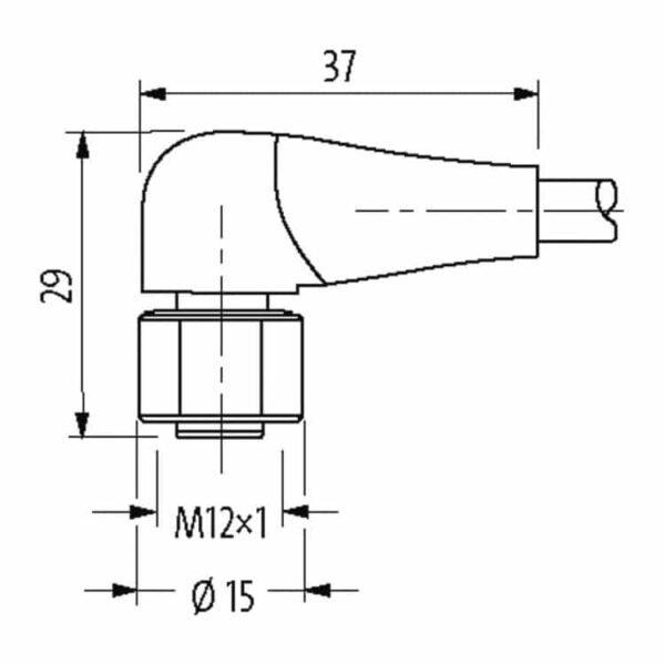 haakse aansluitkabel 4pin-m12