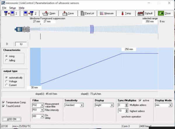 De LinkControl software bij microsonic sensoren