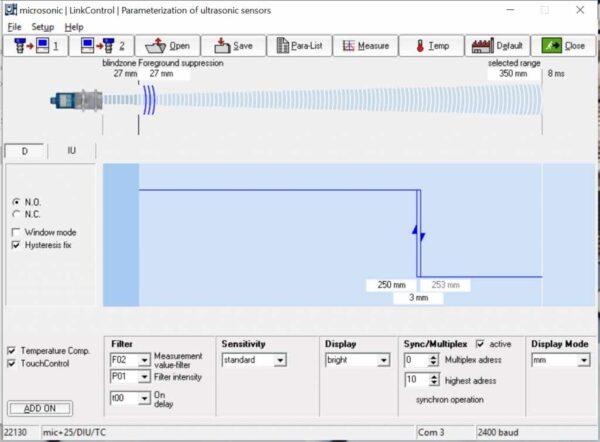 De software van IO-Link bij microsonic sensoren