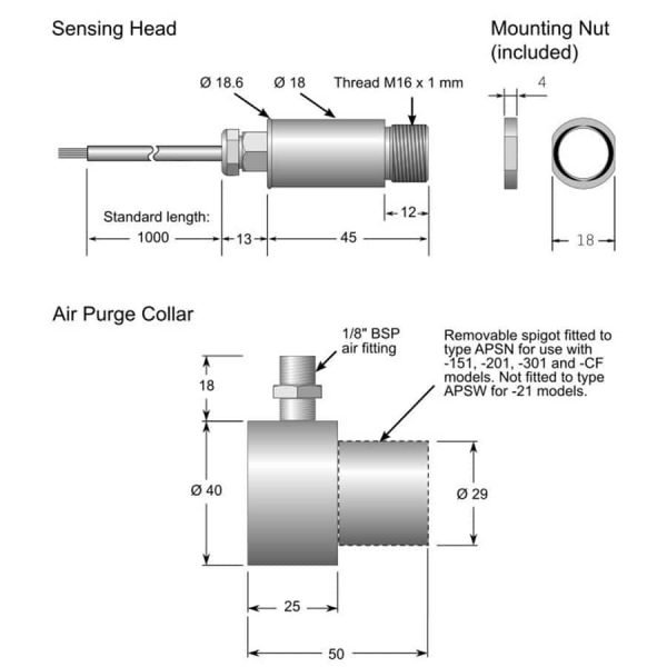 i-Tec MiniUSB infrarood temperatuursensor technische tekening