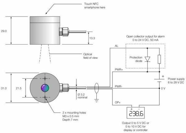 i-Tec NFC infrarood temperatuursensor technische tekening