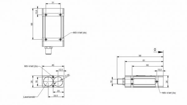 Technische tekeningen van de LAM 70 afstandssensor