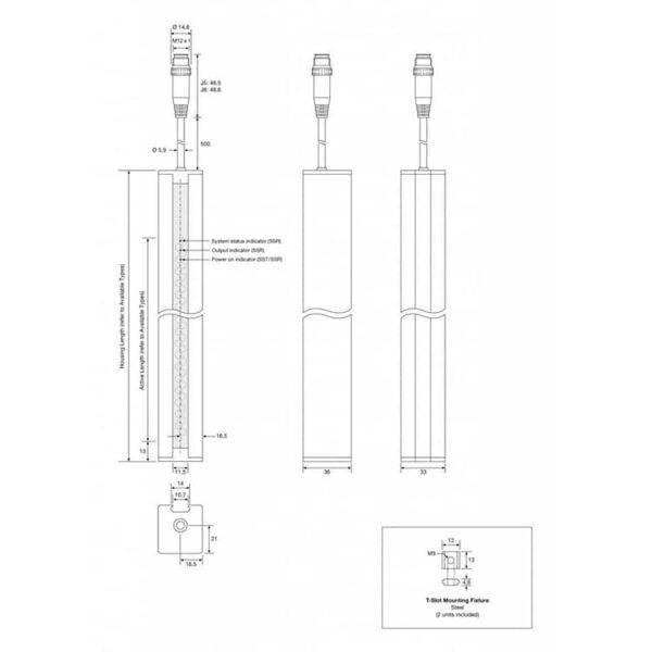 De technische tekening van de SS01 lichtschermen Telco Sensors