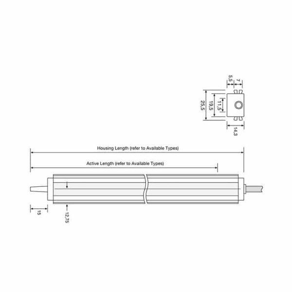 De technische tekening van de SG15 lichtschermen
