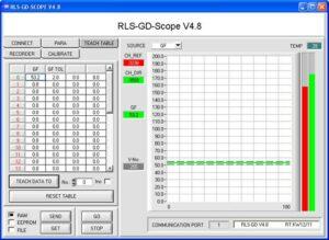 Een schermweergave van de software die gebruikt wordt voor een glansmeting.